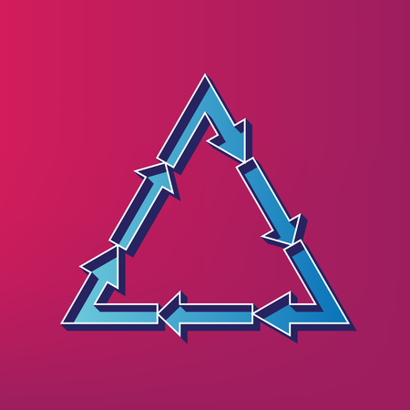 v cycle: Plastic recycling symbol PVC 3 , Plastic recycling code PVC 3. Vector. Blue 3d printed icon on magenta background. Illustration