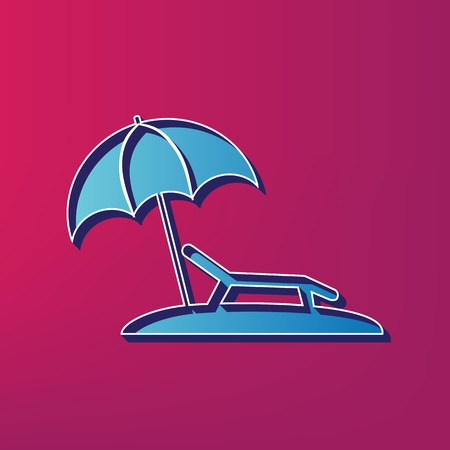 brolly: Tropical resort beach. Sunbed Chair sign. Vector. Blue 3d printed icon on magenta background. Illustration