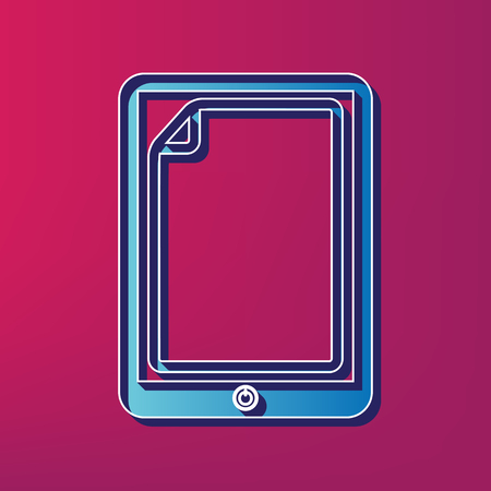 Protective sticker on the screen. Vector. Blue 3d printed icon on magenta background. Иллюстрация
