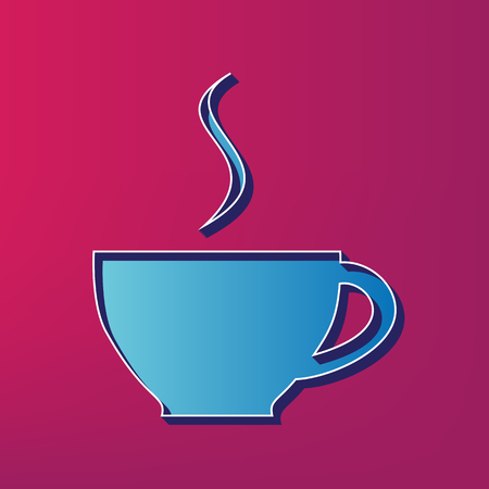 Cup sign with one small stream of smoke. Vector. Blue 3d printed icon on magenta background. Illustration