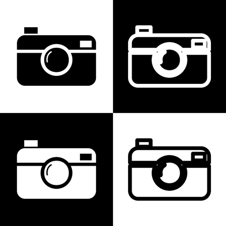 Digital photo camera sign. Vector. Black and white icons and line icon on chess board.