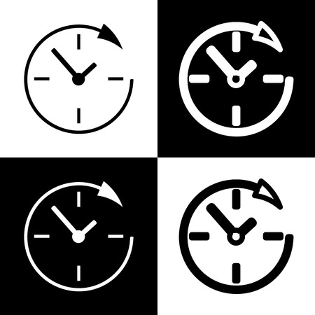 chess board: Service and support for customers around the clock and 24 hours. Vector. Black and white icons and line icon on chess board.