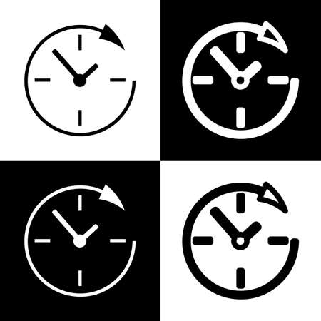 not open: Service and support for customers around the clock and 24 hours. Vector. Black and white icons and line icon on chess board.