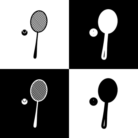 Tennis racquet with ball sign. Vector. Black and white icons and line icon on chess board. Banco de Imagens - 77102838