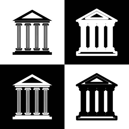 roman column: Historical building illustration. Black and white icons and line icon on chess board.