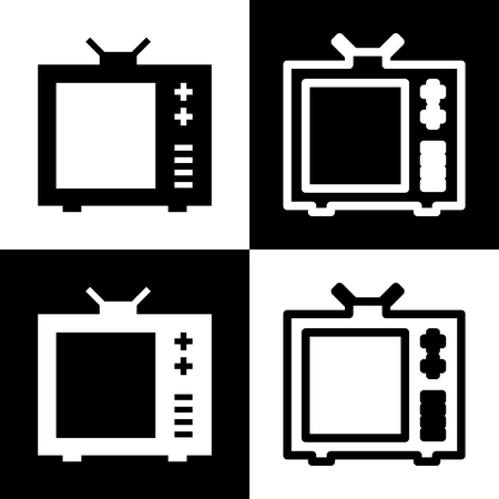 flat screen tv: TV sign illustration. Black and white icons and line icon on chess board.