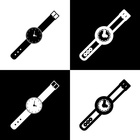 Watch sign illustration. Vector. Black and white icons and line icon on chess board.
