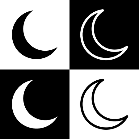 chess board: Moon sign illustration. Vector. Black and white icons and line icon on chess board.