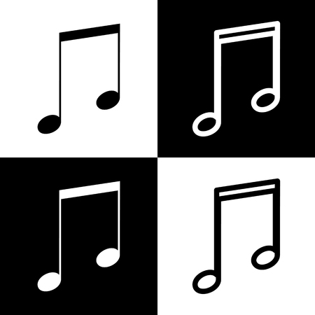 chess board: Music sign illustration. Vector. Black and white icons and line icon on chess board.