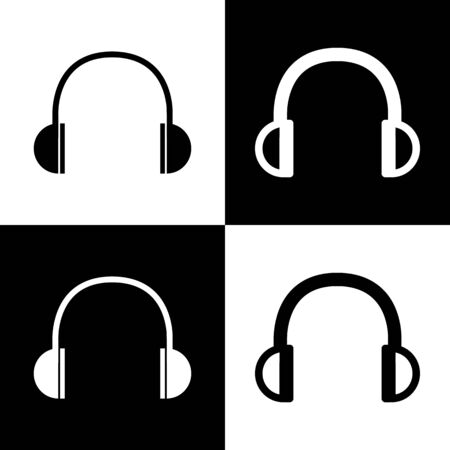 chess board: Headphones sign illustration. Vector. Black and white icons and line icon on chess board.