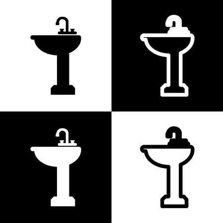 Bathroom sink sign. Vector. Black and white icons and line icon on chess board.