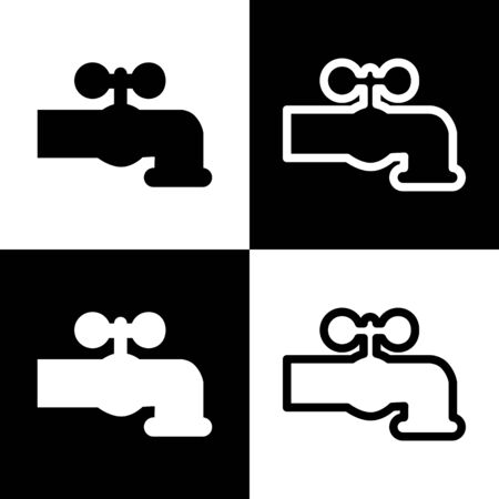 spew: Water faucet sign illustration. Vector. Black and white icons and line icon on chess board. Stock Photo
