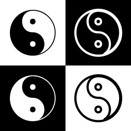 daoism: Ying yang symbol of harmony and balance. Vector. Black and white icons and line icon on chess board.