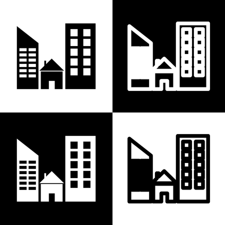chess board: Real estate sign. Vector. Black and white icons and line icon on chess board. Illustration