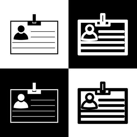chess board: Id card sign. Vector. Black and white icons and line icon on chess board.