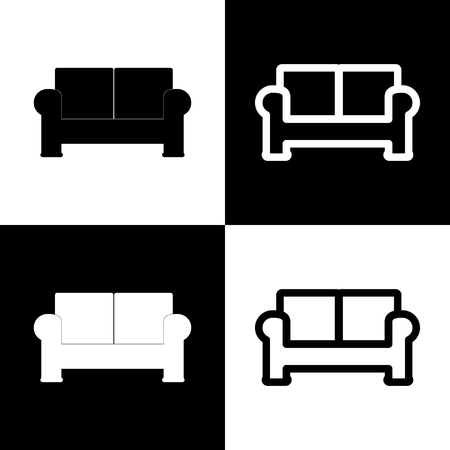 round chairs: Sofa sign illustration. Vector. Black and white icons and line icon on chess board.
