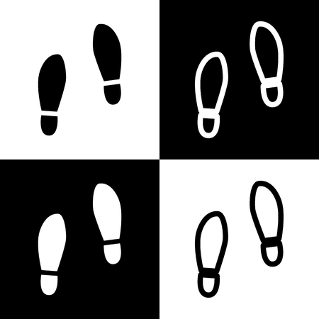 shoeprint: Imprint soles shoes sign. Vector. Black and white icons and line icon on chess board. Illustration