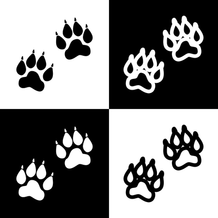 animal silhouette: Animal Tracks sign. Vector. Black and white icons and line icon on chess board.