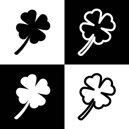 lucky clover: Leaf clover sign. Vector. Black and white icons and line icon on chess board.