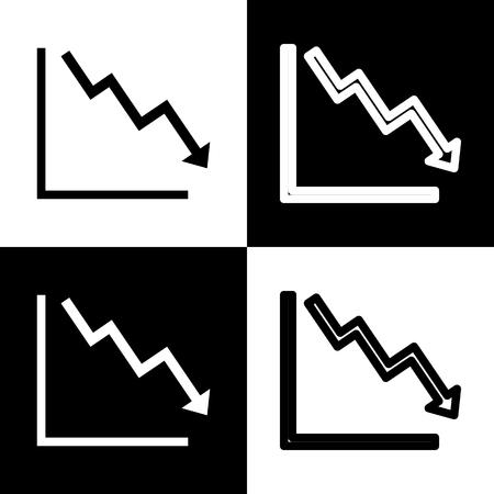 示す危機を下向きの矢印。ベクトル。黒と白のアイコンとチェス盤の線アイコン。  イラスト・ベクター素材
