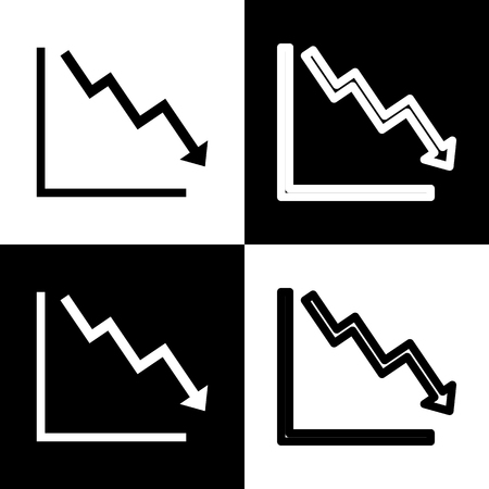Arrow pointing downwards showing crisis. Vector. Black and white icons and line icon on chess board. Vettoriali