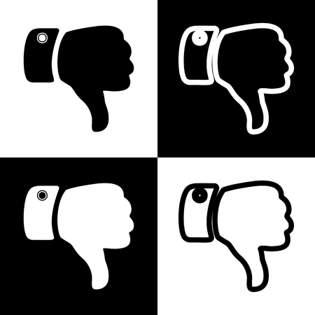 disapprove: Hand sign illustration. Vector. Black and white icons and line icon on chess board.