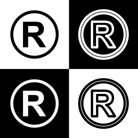 convention: Registered Trademark sign. Vector. Black and white icons and line icon on chess board.