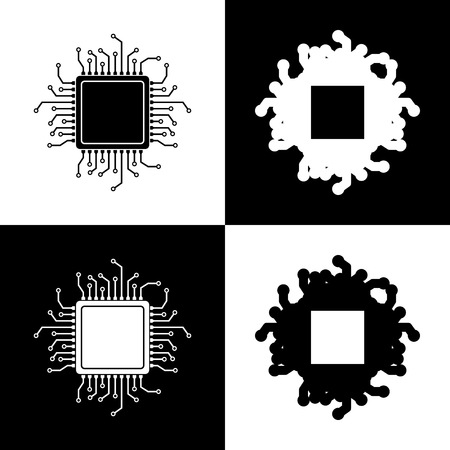 gpu: CPU Microprocessor illustration. Vector. Black and white icons and line icon on chess board.