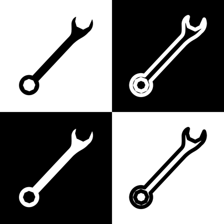 Crossed wrenches sign. Vector. Black and white icons and line icon on chess board.