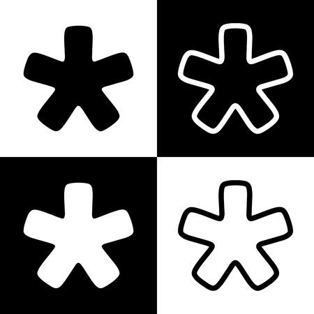 Asterisk star sign. Vector. Black and white icons and line icon on chess board. Banco de Imagens - 77103437