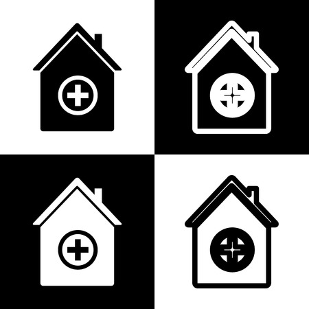 emergency cart: Hospital sign illustration. Vector. Black and white icons and line icon on chess board.