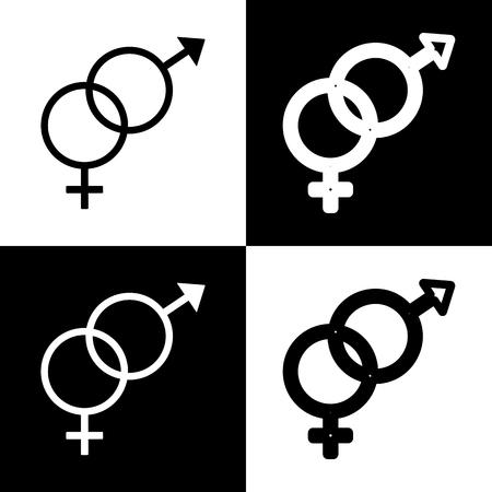 セックス シンボル サイン。ベクトル。黒と白のアイコンとチェス盤の線アイコン。