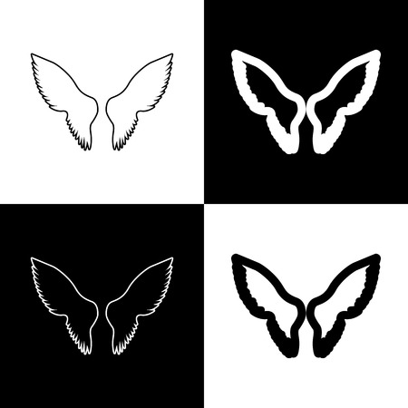 Wings sign illustration. Vector. Black and white icons and line icon on chess board.