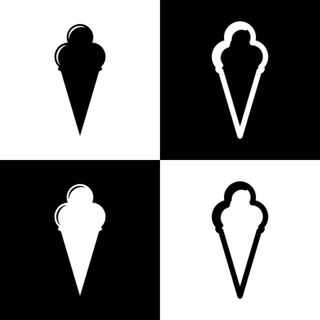 chess board: Ice Cream sign. Vector. Black and white icons and line icon on chess board. Illustration