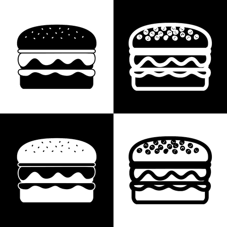 chess board: Burger simple sign. Vector. Black and white icons and line icon on chess board. Illustration