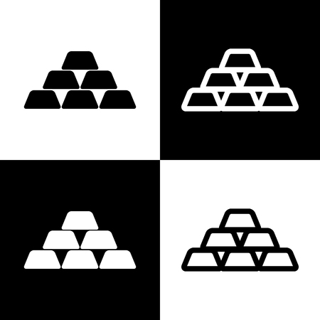 chess board: Gold simple sign. Vector. Black and white icons and line icon on chess board.