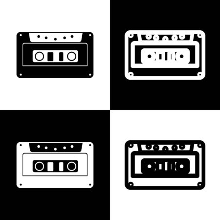 chess board: Cassette icon, audio tape sign. Vector. Black and white icons and line icon on chess board. Illustration