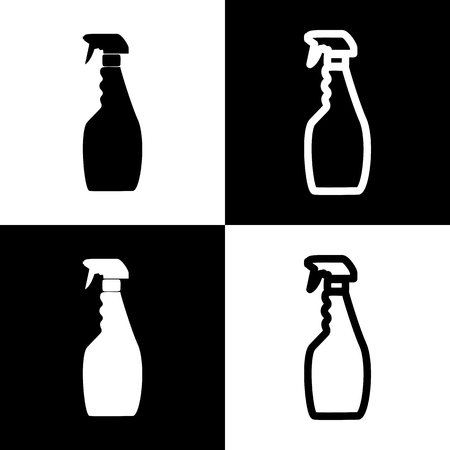 Plastic bottle for cleaning. Vector. Black and white icons and line icon on chess board.