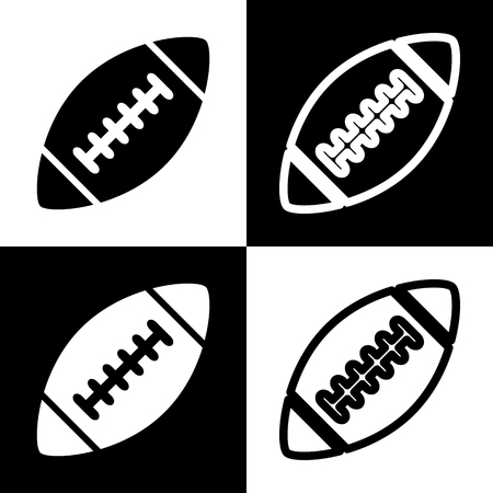 chess board: American simple football ball. Vector. Black and white icons and line icon on chess board.
