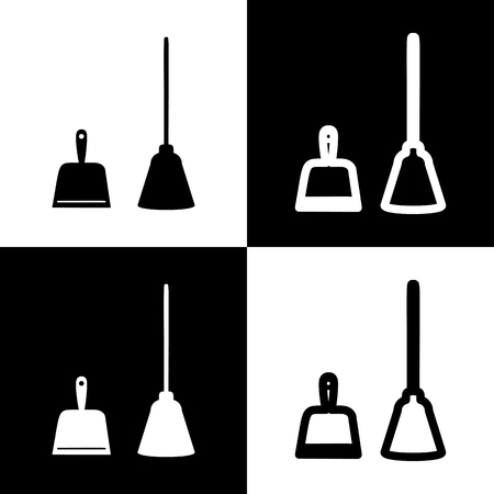 whisk broom: Dustpan vector sign. Scoop for cleaning garbage housework dustpan equipment. Vector. Black and white icons and line icon on chess board.