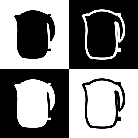 boiler: Electric kettle sign. Vector. Black and white icons and line icon on chess board.