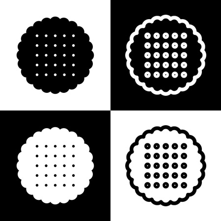 baby rice: Round biscuit sign. Vector. Black and white icons and line icon on chess board.