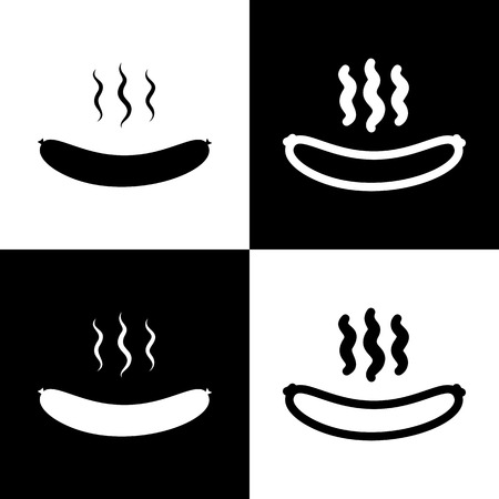 Sausage simple sign. Vector. Black and white icons and line icon on chess board. Illustration