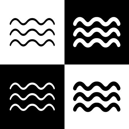 oceanic: Waves sign illustration. Vector. Black and white icons and line icon on chess board. Illustration