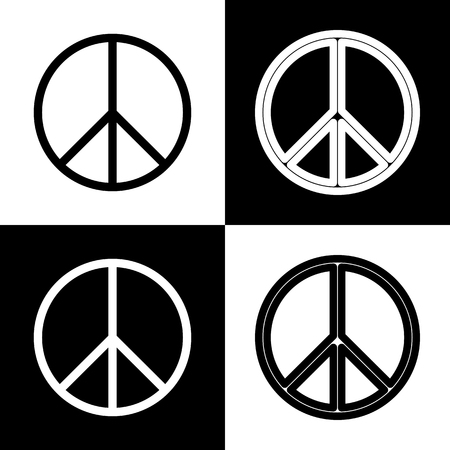brushwork: Peace sign illustration. Vector. Black and white icons and line icon on chess board.