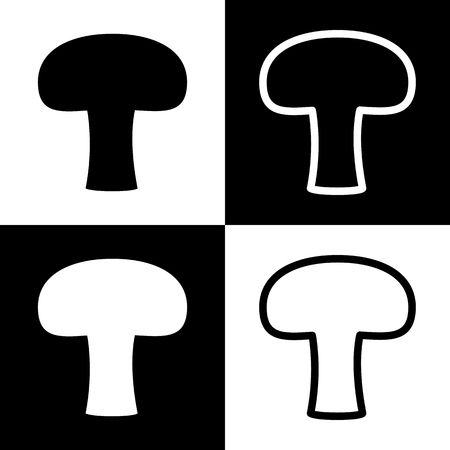 chess board: Mushroom simple sign. Vector. Black and white icons and line icon on chess board.
