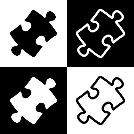 plugin: Puzzle piece sign. Vector. Black and white icons and line icon on chess board.