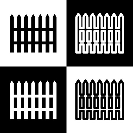 chess board: Fence simple sign. Vector. Black and white icons and line icon on chess board. Illustration