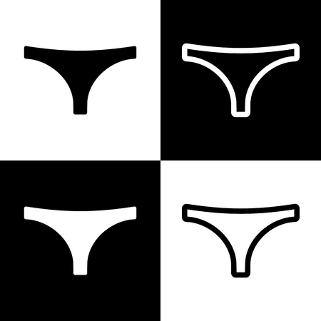 women s clothes: Womens panties sign. Vector. Black and white icons and line icon on chess board.