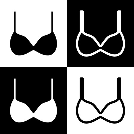 Bra simple sign. Vector. Black and white icons and line icon on chess board.